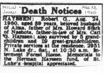 Robert G Hayssen Death Notice 1960 (2)